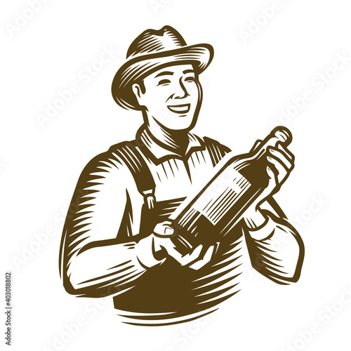 Farmer with a bottle in his hands. Sketch vintage vector illustration