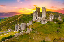 Dramatic Sunset Over The Corfe Castle, Dorset, England