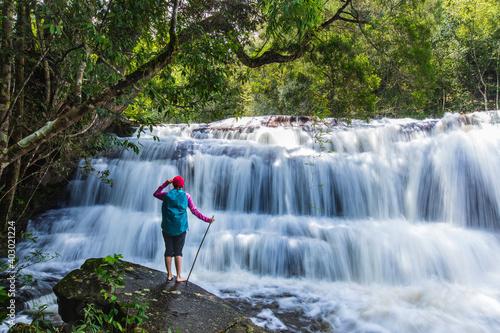 Beautiful waterfall in Phu-Kra-Dueng national park  Loei province, ThaiLand.