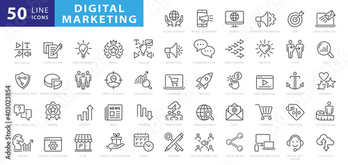 Fototapeta Outline web icons set - Search Engine Optimization. Thin line web icon collection. Simple vector illustration obraz