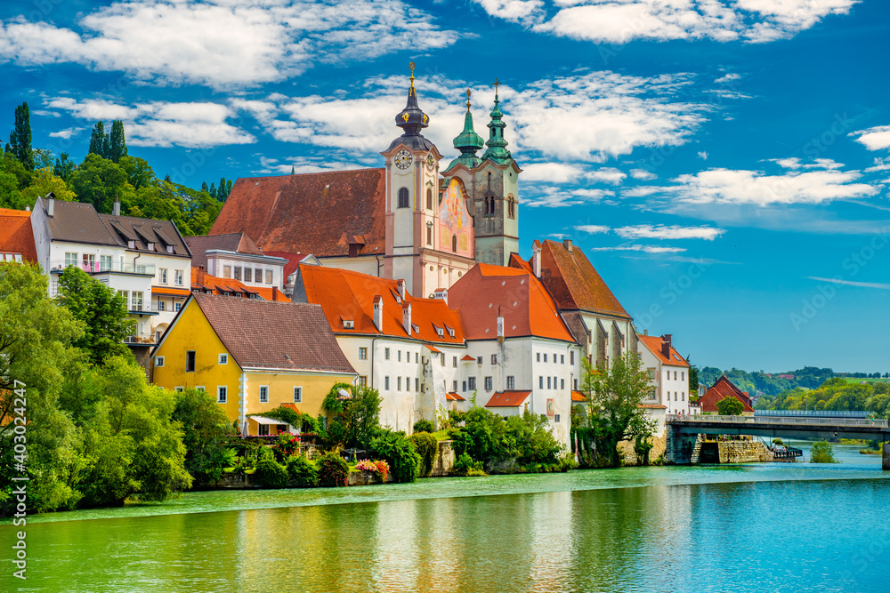 Fototapeta View of The Saint Michael's Church in Steyr, Upper Austria