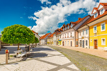 View Of The Main Street In Kamnik, A Small Historical Town In Slovenia