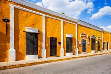 Izamal, Mexico. Street On The Golden City Of Izamal, In Northern Yucatan.