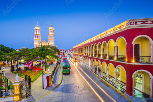 Obraz Campeche, Mexico. Independence Plaza in the Old Town of San Francisco de Campeche. - fototapety do salonu