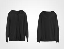 Mockup Black Hoodie With Zip Closure, Pocket, Drawstring Hoodie, Blank Sweatshirt For Design Presentation.