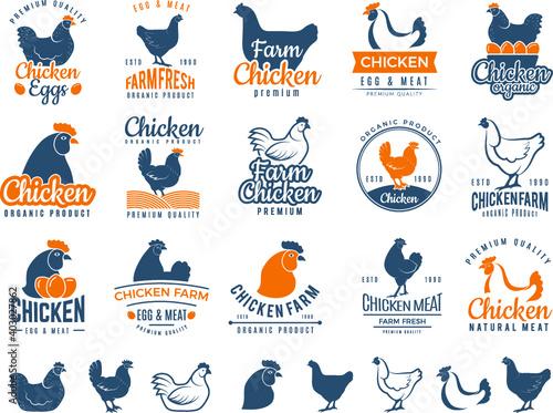 Obraz chicken badges fresh farm food logo set - fototapety do salonu
