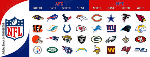 NFL American and Football Conference Division Team Logos. Vector, transparent.