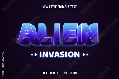 text effect 3d alien invasion color purple and white Fototapet
