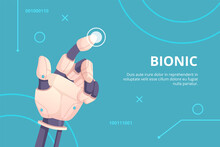 Robot Hand Pointing. Bionic Gestures Digital Hand Touching On Screen Holographic Button Futuristic Concept Vector Illustration. Prosthetic Artificial Showing Finger, Intelligence Android