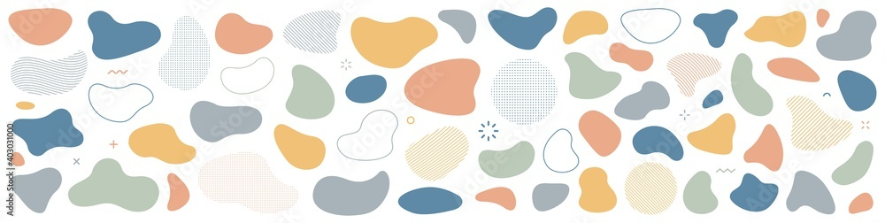 Fototapeta Abstract blotch shape. Liquid shape elements. Set of modern graphic elements. Fluid dynamical colored forms banner. Gradient abstract liquid shapes. Vector illustration.