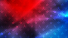 USA Colors, Stars And Smooth Stripes Abstract Bright Poster Design. Independence Day Modern Vector Background. Concept American Flag