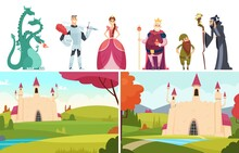 Book Heroes. Fairy Tale Stories, Castle Landscapes Dragon Prince And Princess. Royal Family Vector Characters. Illustration Fairy Tale Cartoon, Story Medieval