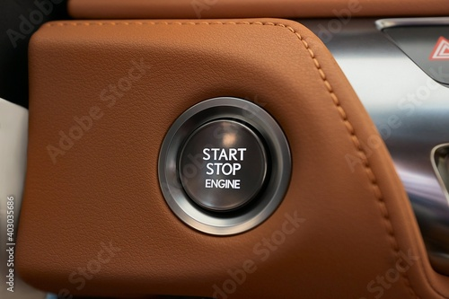 Starting the engine of a car with button