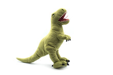 Closeup Of Green Dinosaur Plush Standing On White Background