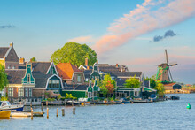 Traditional Old Village With Dutch Windmills In Amsterdam, Netherlands