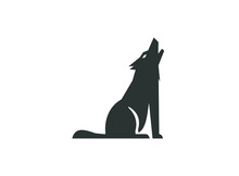 Wolf Howling Silhouette For Logo Illustration Design