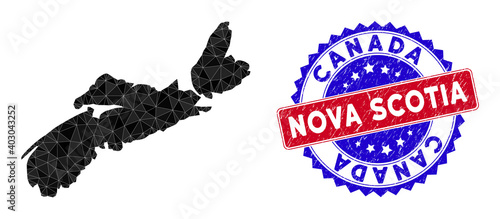 Fotografia Nova Scotia Province map polygonal mesh with filled triangles, and rough bicolor stamp seal