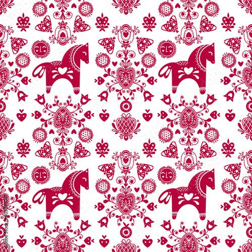 Tapety Skandynawskie  streszczenie-ludowy-wzor-z-elementami-dekoracyjnymi-kwiatami-konmi-i-sercami