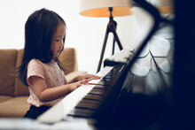 Asian Toddler 3 Years Old Girl Play Piano At Home With Concentration, Early Childhood Activity, Music Education, Pianist, Musician, Performance