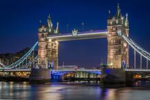 Tower Bridge In London, England At Night.