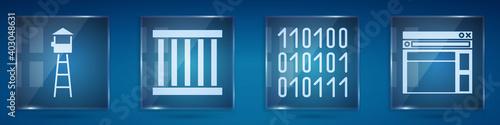 Fotografija Set Watch tower, Prison window, Binary code and Website template