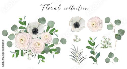 Set of floral elements Fototapet