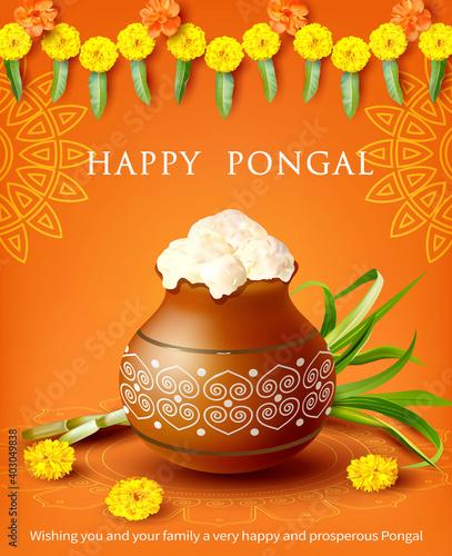 Composition with traditional clay pot, rangoli and marigold (zendu) garland for Indian harvest festival Pongal (Makar Sankranti). Vector illustration.