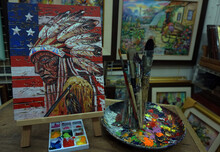 Art Painting Oil Color , Red Indian , Native American , Paint Brushes, Palette ,in Gallery ,from Thailand