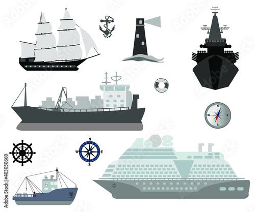 Maritime ships flat Fototapete