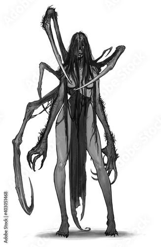 Fototapeta Werewolf girl mutant illustration realism sketch isolate