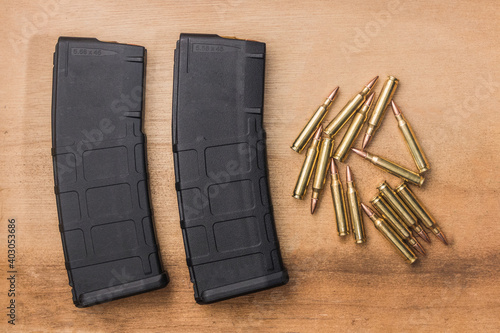 Vászonkép 30 round bullet magazine for an AR-15 semi-auto assault rifle guns with
