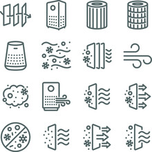 Air Purifier Icon Illustration Vector Set. Contains Such Icons As Dust, Oxygen, Anti-bacteria, Air Pollution, Pm 2.5, Air Filter, And More. Expanded Stroke