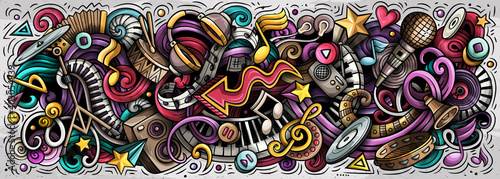 Music hand drawn cartoon doodles illustration. Colorful raster banner