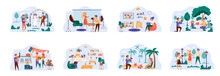 Designers And Photographers Bundle Of Scenes With People Characters. Professional Photography Of Festive Events Conceptual Situations. Digital Designer Work With Laptop Cartoon Vector Illustration.