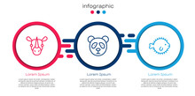 Set Line Rhinoceros, Cute Panda Face And Puffer Fish. Business Infographic Template. Vector.
