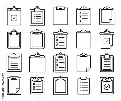 Obraz clipboard and document icons vector set line design - fototapety do salonu