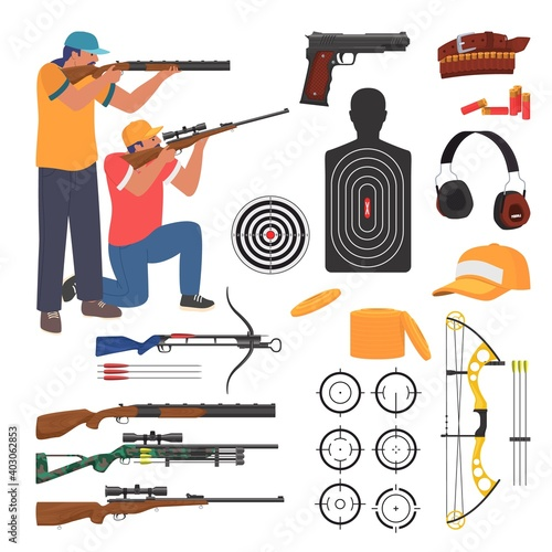 Shooting club and range weapons and accessories, flat vector isolated illustration Fototapete