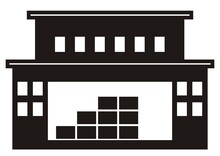 Central Warehouse With Office, Black Silhouette, Vector Icon