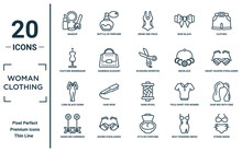 Woman.clothing Linear Icon Set. Includes Thin Line Makeup, Couture Mannequin, Long Black Gown, Dangling Earrings, String Bikini, Scissors Inverted View?, Hair Wig With Side Icons For Report,
