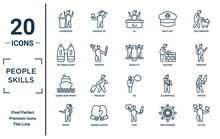 People.skills Linear Icon Set. Includes Thin Line Leadership, Big Binoculars, Cargo Ship Front View, Doubt, Actor, Equality, Writer Icons For Report, Presentation, Diagram, Web Design