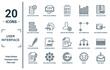 user.interface linear icon set. includes thin line analytics settings, data analytics bars, pen filled writing tool, writing square, mail inbox, user setting interface, comparision table icons for