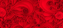 Valentine's Day Deep Red 3d Rendering Background. Chic Scarlet Background With Floral Elements In Paper Cut Art Style. Quilling Paper Romantic Background Made Of Curls And Swirls For Banners.