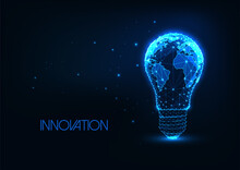 Futuristic Global Energy, Innovation Concept With Glowing Low Polygonal Light Bulb With Earth Map
