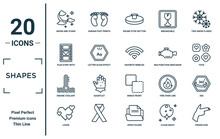 Shapes Linear Icon Set. Includes Thin Line Moon And Stars, Film Strip With Heart, Engine Coolant, Lover, Finger Gun, Favorite Wireles Conecction, 360 Icons For Report, Presentation, Diagram, Web