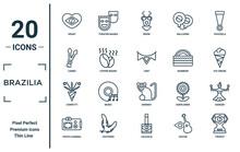 Brazilia Linear Icon Set. Includes Thin Line Heart, Canes, Confetti, Photo Camera, Trophy, Lent, Dancer Icons For Report, Presentation, Diagram, Web Design