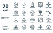 Geometry Linear Icon Set. Includes Thin Line Octahedron, Polygonal Hexagonal, Axis, Multiple Triangles Triangle, Lightning Bolt Polygonal, Asterisk, Polygonal Buildings Of Small Triangles Icons For