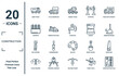 construction linear icon set. includes thin line dump truck, concrete, big clippers, flags crossed, construction plan, stopcock, wood saw icons for report, presentation, diagram, web design