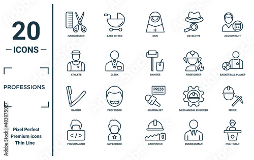professions linear icon set Fototapet