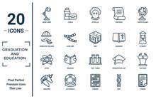 Graduation.and.education Linear Icon Set. Includes Thin Line Desk Lamp, Sherlock Holmes, Atom, Unicorn, Thesis, Abc, Lectern Icons For Report, Presentation, Diagram, Web Design