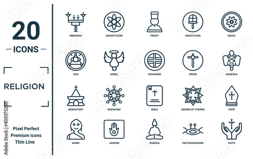 Canvas religion linear icon set